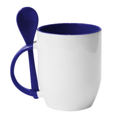 Цвет Синий, Кружки с керамическими ложками - PrintSalon