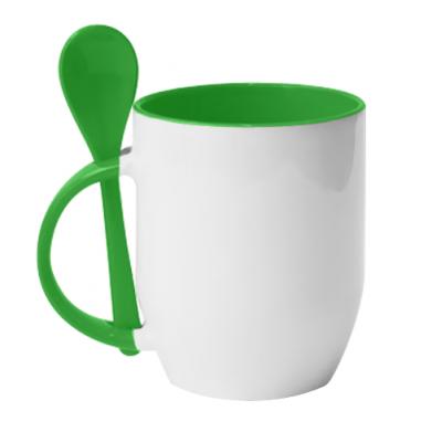 Цвет Зеленый, Кружки с керамическими ложками - PrintSalon