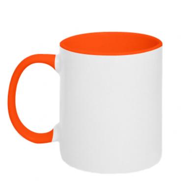 Цвет Оранжевый+белый, Кружки двухцветные - PrintSalon