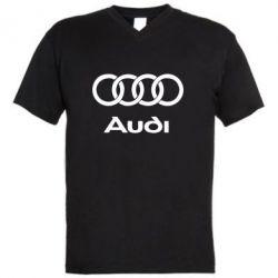Мужская футболка  с V-образным вырезом Audi - PrintSalon