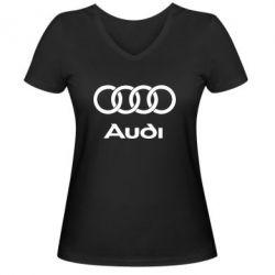 Женская футболка с V-образным вырезом Audi - PrintSalon