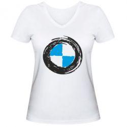 Женская футболка с V-образным вырезом BMW Graffity