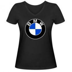 Женская футболка с V-образным вырезом BMW - PrintSalon