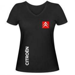 Женская футболка с V-образным вырезом Citroen Vertical