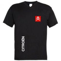 Мужская футболка  с V-образным вырезом Citroen Vertical