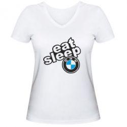Женская футболка с V-образным вырезом Eat, sleep, BMW