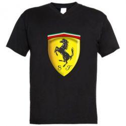 Мужская футболка  с V-образным вырезом Ferrari 3D Logo