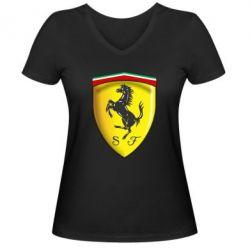 Женская футболка с V-образным вырезом Ferrari 3D Logo