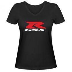 Женская футболка с V-образным вырезом GSX-R