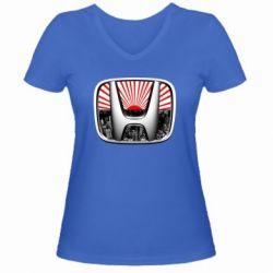 Женская футболка с V-образным вырезом Honda JDM