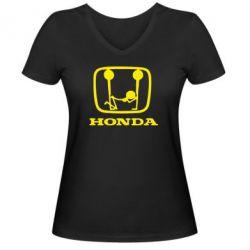 Женская футболка с V-образным вырезом Honda - PrintSalon