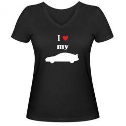 Женская футболка с V-образным вырезом I love my car - PrintSalon