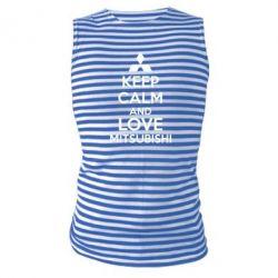 Майка-тельняшка Keep calm an love mitsubishi