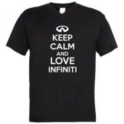 Мужская футболка  с V-образным вырезом KEEP CALM and LOVE INFINITI