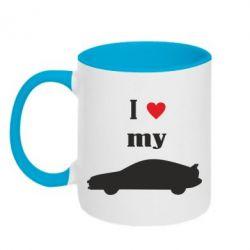 Кружка двухцветная I love my car - PrintSalon