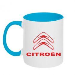 Кружка двухцветная Логотип Citroen - PrintSalon