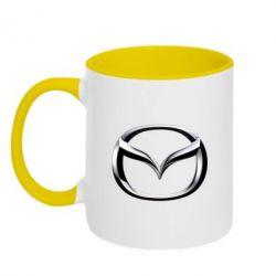 Кружка двухцветная Mazda 3D Small Logo