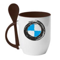Кружка с керамической ложкой BMW Graffity