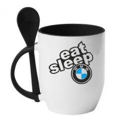 Кружка с керамической ложкой Eat, sleep, BMW
