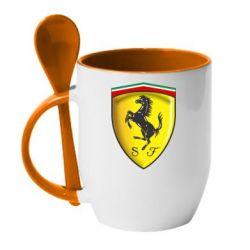 Кружка с керамической ложкой Ferrari 3D Logo