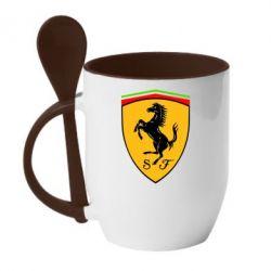 Кружка с керамической ложкой Ferrari