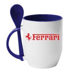 Кружка с керамической ложкой Ferrari - PrintSalon