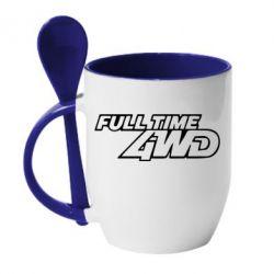 Кружка с керамической ложкой Full time 4wd - PrintSalon