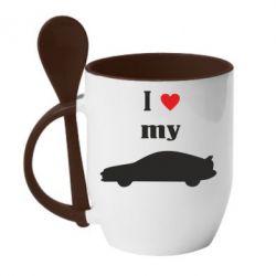 Кружка с керамической ложкой I love my car - PrintSalon