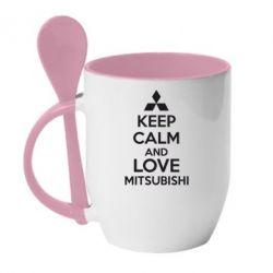 Кружка с керамической ложкой Keep calm an love mitsubishi