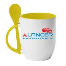 Кружка с керамической ложкой Lancer Evolution X
