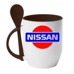 Кружка с керамической ложкой Logo Nissan