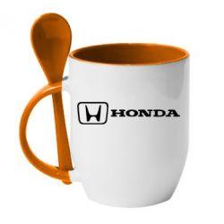 Кружка с керамической ложкой Логотип Honda - PrintSalon
