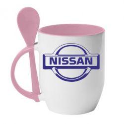 Кружка с керамической ложкой логотип Nissan - PrintSalon