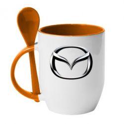 Кружка с керамической ложкой Mazda 3D Logo