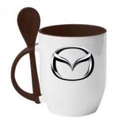Кружка с керамической ложкой Mazda 3D Small Logo