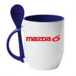 Кружка с керамической ложкой Mazda 6 - PrintSalon
