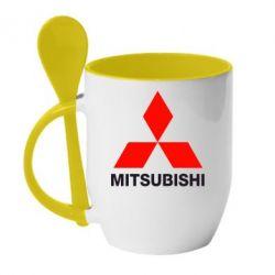 Кружка с керамической ложкой Mitsubishi small