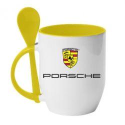 Кружка с керамической ложкой Porsche - PrintSalon
