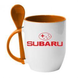Кружка с керамической ложкой Subaru - PrintSalon
