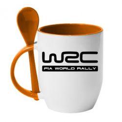 Кружка с керамической ложкой WRC - PrintSalon