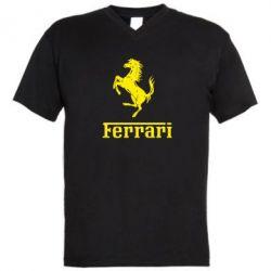 Мужская футболка  с V-образным вырезом логотип Ferrari