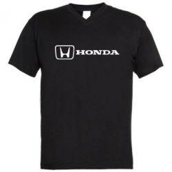 Мужская футболка  с V-образным вырезом Логотип Honda - PrintSalon