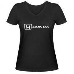 Женская футболка с V-образным вырезом Логотип Honda - PrintSalon