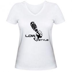 Женская футболка с V-образным вырезом Low Style