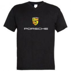 Мужская футболка  с V-образным вырезом Porsche - PrintSalon