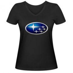 Женская футболка с V-образным вырезом Subaru 3D Logo