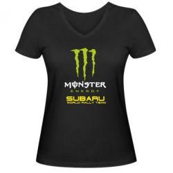 Женская футболка с V-образным вырезом Subaru Monster Energy