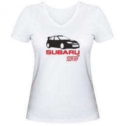 Женская футболка с V-образным вырезом Subaru STI