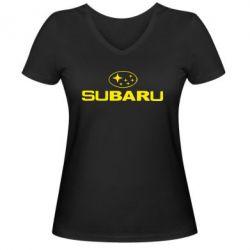 Женская футболка с V-образным вырезом Subaru - PrintSalon