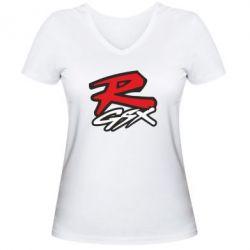 Женская футболка с V-образным вырезом Suzuki GSX-R Logo